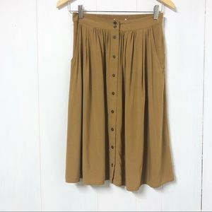 Forever 21 Button Front Midi Skirt Camel Colour XS